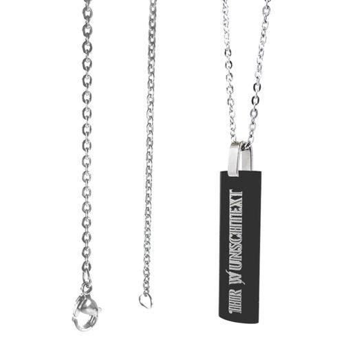 Edelstahl Anhänger Anker Halskette ca 60 cm GRAVUR Wunschtext Personalisiert