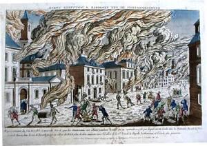 Antique map, Representation du feu terrible a Nouvelle Yorck