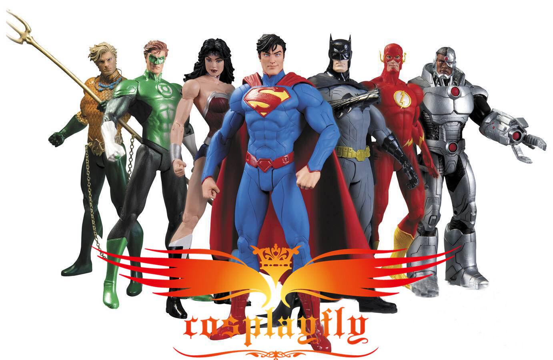 7PK Action Figure Models Set Super man Flash Grün Halloween Carnival Decoration