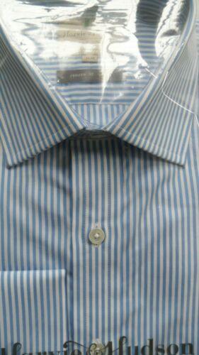 """HARVIE /& Hudson 15/""""//35/"""" Cotone Blu a Righe del Bengala Camicia Bracciale singolo Classic Fit"""