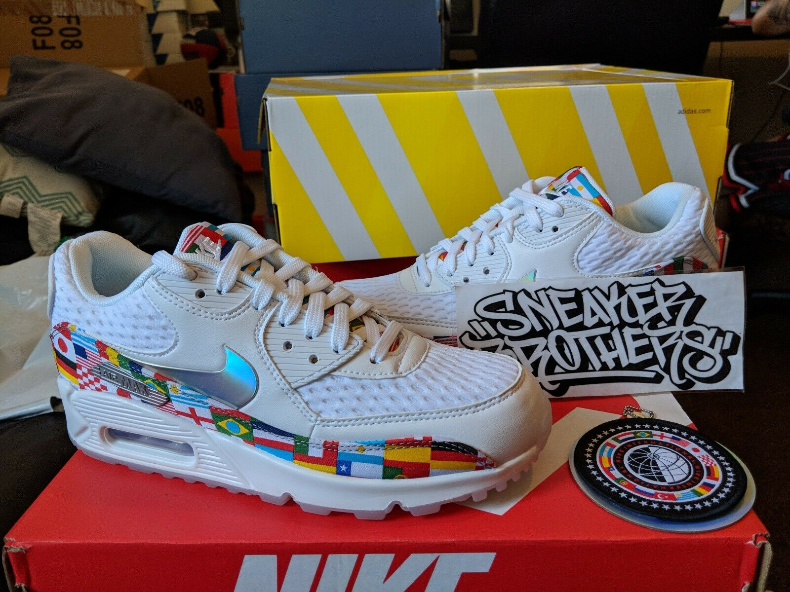Nike Air Max 90 NIC QS International World Cup Flag White Multi AO5119-100 Men Casual wild