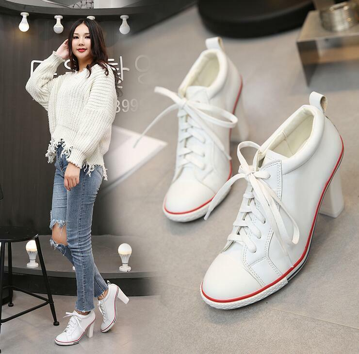Ladies Women's Pumps Leather High Block Heel  Lace Up Sneakers Shoes Casual New