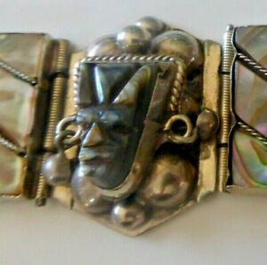 Vintage-Bracelet-Taxco-Mexico-Mother-Of-Pearl-Sterling-Massive-Aztec-Carving