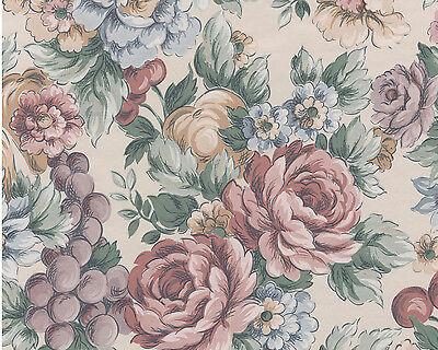 Yellow Blue Burgandy Flower Cream Garden Vintage  Floral Double Roll Wallpaper