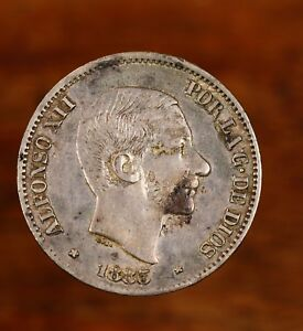 Raw-1885-Spain-50-Centavos-Uncertified-Ungraded-Spanish-Silver-Coin