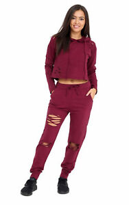 Women Ripped Hooded Crop Top Ladies Distressed Loungewear Tracksuit Joggers 8-14