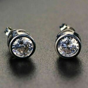 2-Ct-White-Round-Moissanite-Stud-Earrings-14K-White-Gold-Plated-Jewelry-Gift-Box