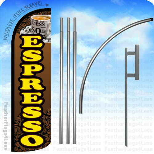q ESPRESSO Windless Swooper Feather Flag 15/' KIT Banner Sign