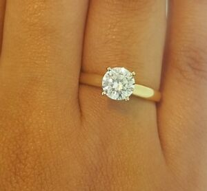 1 Ct Diamond Solitaire Engagement Ring 14k Solid Yellow Gold Cathedral Setting Ebay