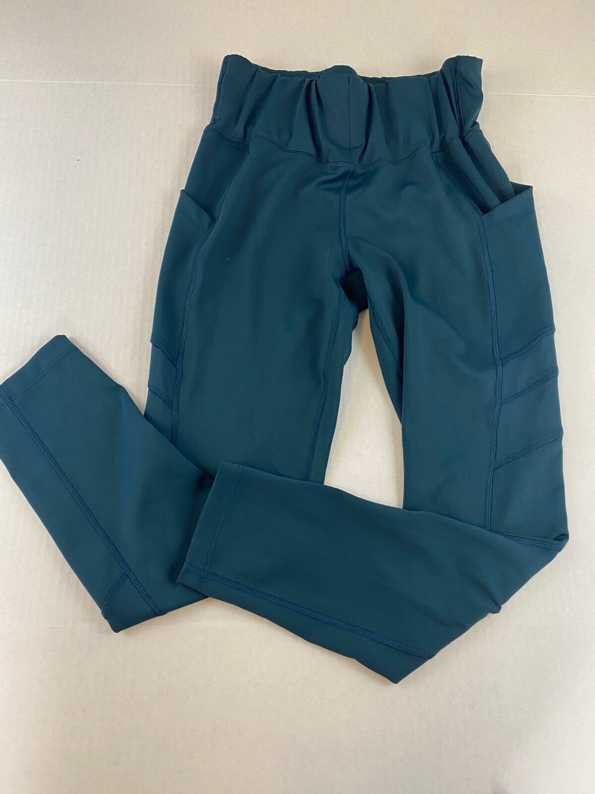 New Balance Women High Rise Teal Athletic Leggings Thick Band Waist S/M
