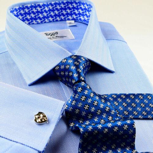 Mens Blue Herringbone Twill Dress Shirt Business Frog French Cuffs Spread Collar