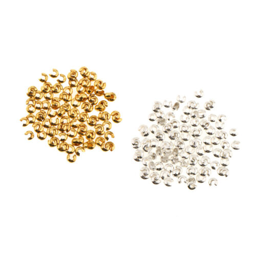 200pcs 3mm Brass Crimp Beads Covers Knot Covers Beads for Jewelry Makings