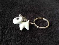 Cute White Dog Keyring/ Bag Charm, bull terrier, Great Gift