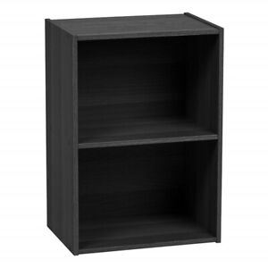 Short Wide Bookcase Two Shelf Tier Bookshelf Black Small Home