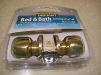 Defiant Bed & Bath Polished Brass Door Knob Lock Locking Interior Nip