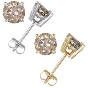 Image Is Loading 0 30 Ct Champagne Diamond Stud Earrings 14k