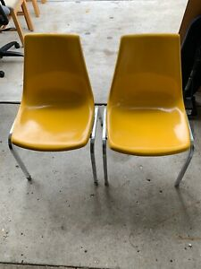 Beau Details About 2 Vintage Krueger Metal Products Yellow/Orange Fiberglass  Shell Chair Stackables