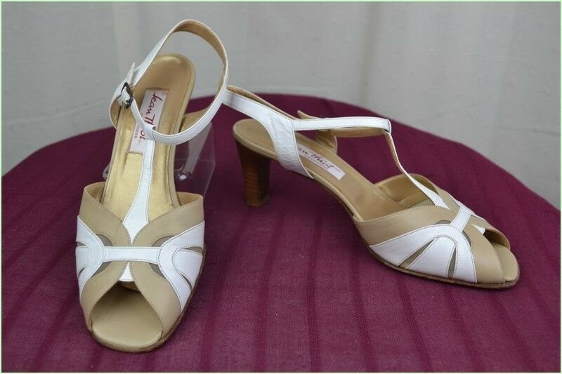 Sandals JEAN THIOT All Leather Beige and white T 41 TOP CONDITION