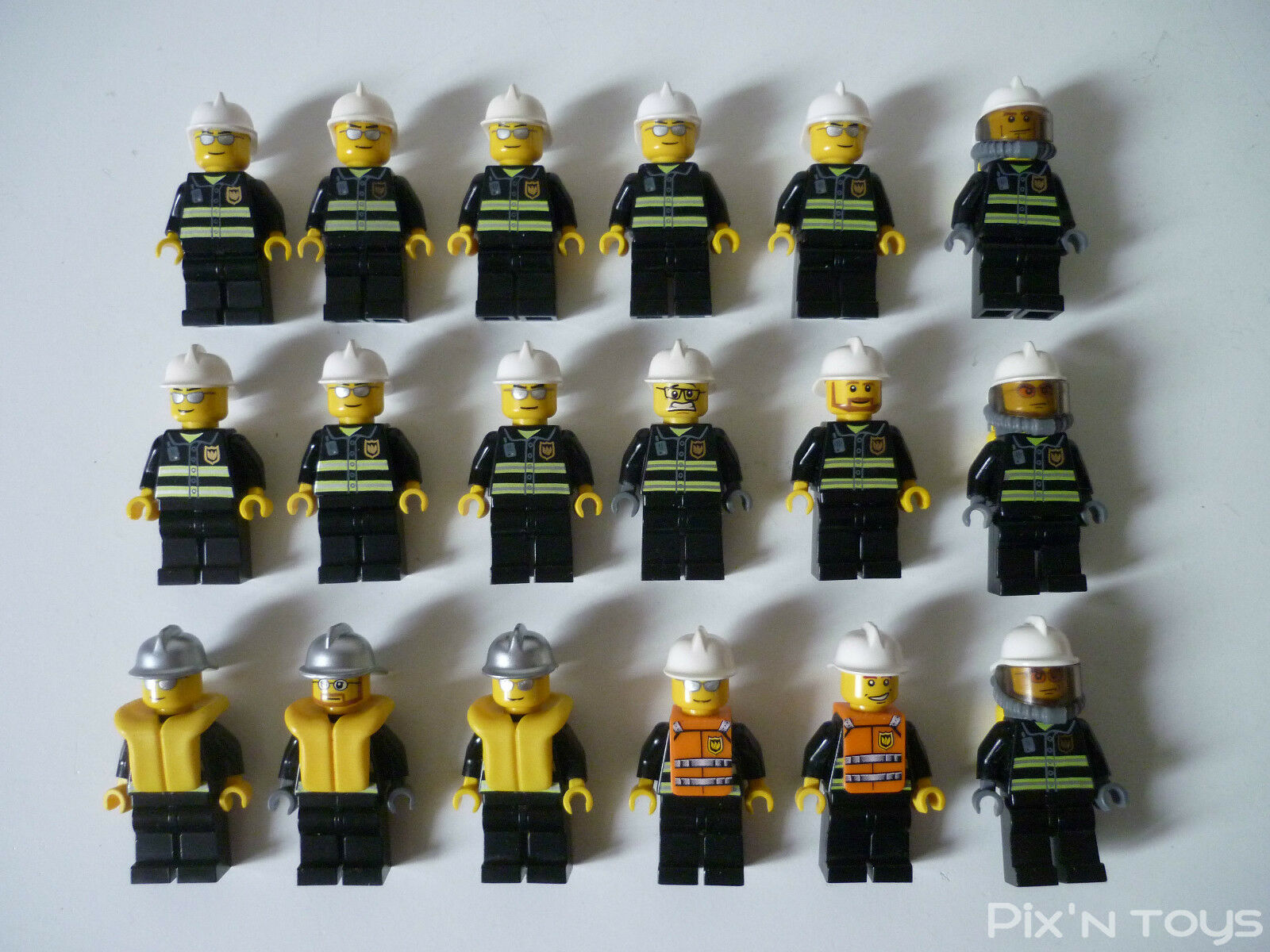 LEGO CITY   X 18 Minifigures Pompiers - Fireman