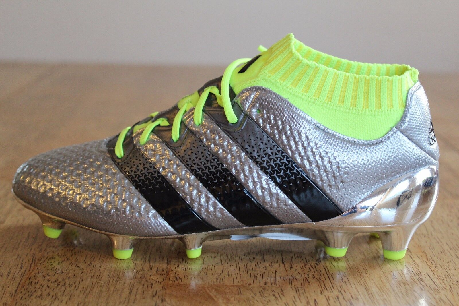 18 New Adidas Ace 16.1 Primeknit Silver FG Youth Soccer Cleats 5.5 (Wmns 7)