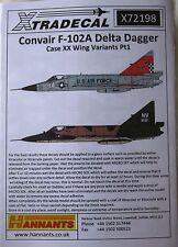 Xtradecal 1/72 X72198 Convair F-102A Delta Dagger (Case XX wing) Pt1 decal set