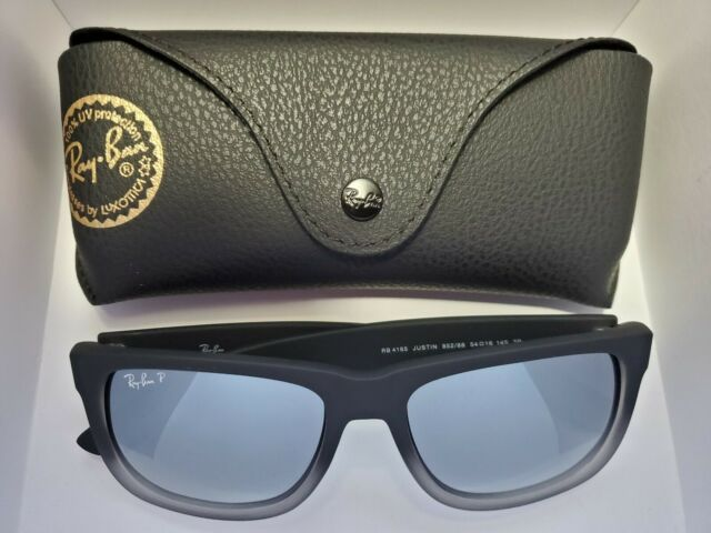 BRAND NEW Ray-Ban RB4165 Justin 852/88 Polarized Silver Mirror Gray Gradient