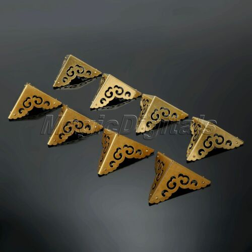 4× Corners DIY Furniture Hardware Brass for Cabinet Trunk Jewelry Wood Box Chest