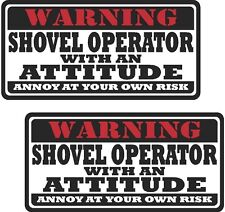 """2 - 3"""" Shovel Operator Worker Warning Tools Motorcycle Decal Hat Sticker WS1"""