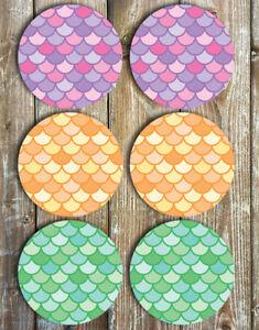 Mermaid-Coasters-Set-of-6-Non-Slip-Neoprene-Drink-Coasters-Mermaid-Scales