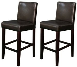 Details about ( Set of 2 ) Brown Leather Barstools Bar Stools Kitchen  Counter Stool Barstool