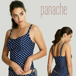 Panache Swimwear Anya Spot Balconnet Tankini Top in Navy/Ivory SW1011, New + Tag