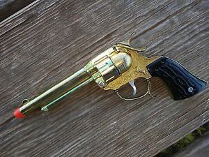 Details about TEXAS Mustang Toy Cap Gun Leslie-Henry Wild West Toys Gold  color plated USA MADE