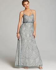 ADRIANNA PAPELL Slate Blue Beaded Chiffon Blouson Gown Size 16 - NWT