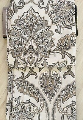 ENVOGUE Window Curtain Panel Pair Jacobean Medallion Khaki,beige, Silver, Gray