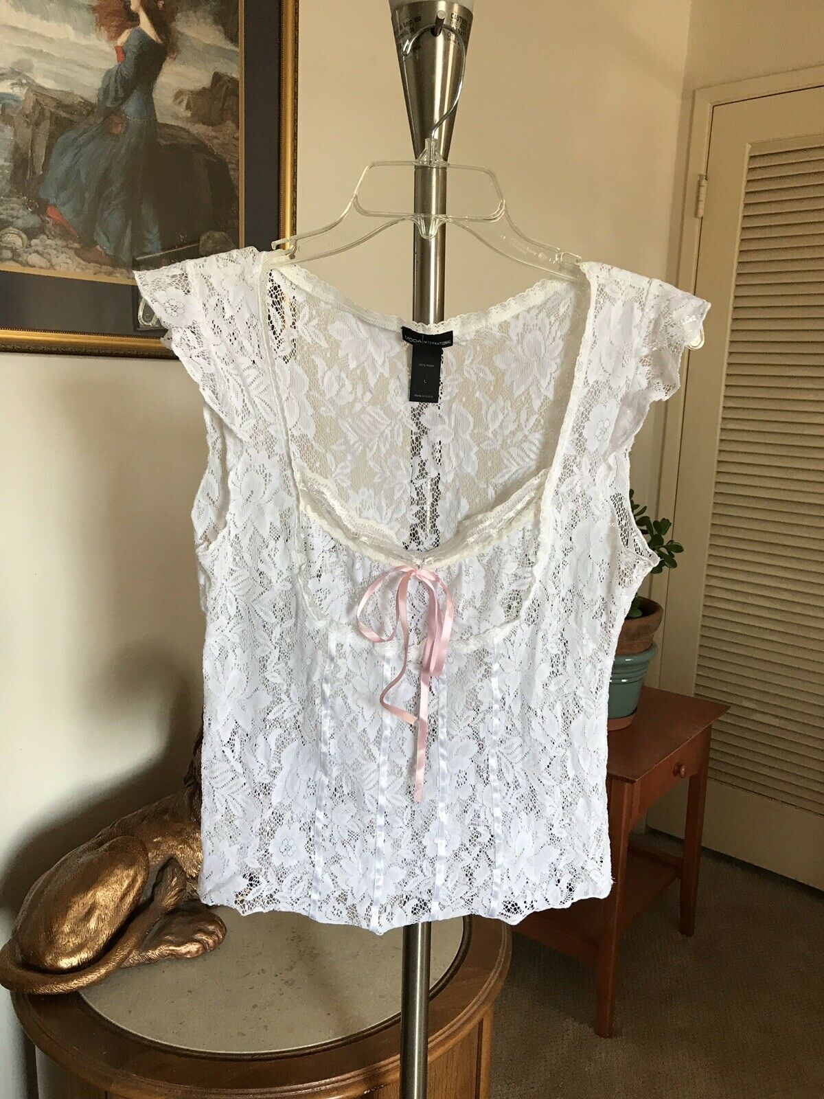 Victoria's Secret Vintage Weiß Lace with Ribbon oben SZ Med NEW