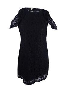 e311c5c6 Tommy Hilfiger Women's Cold-Shoulder Glitter Lace Dress (16, Black ...