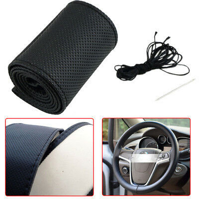 Red Universal PU Leather DIY Car Steering Wheel Cover Case With Needles/&Thread
