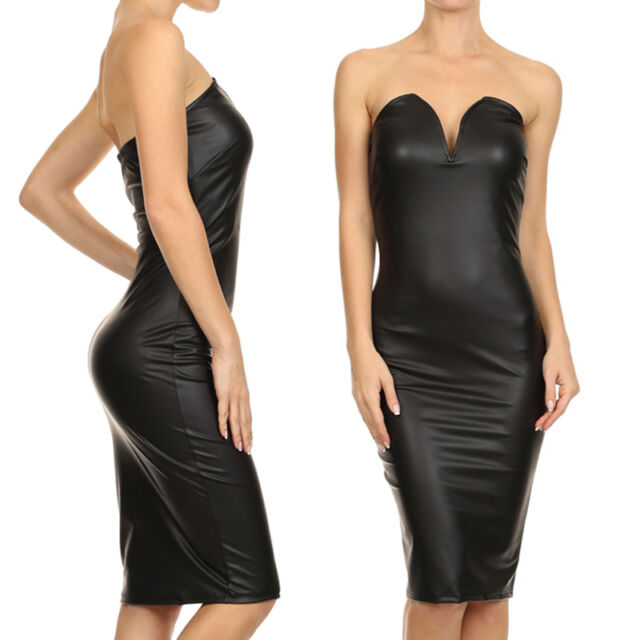 Sexy Faux Leather Strapless Sweetheart Neckline Bodycon Knee Length Club Dress