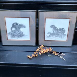 1976 Framed and Matted Sketch of a Chipmunk