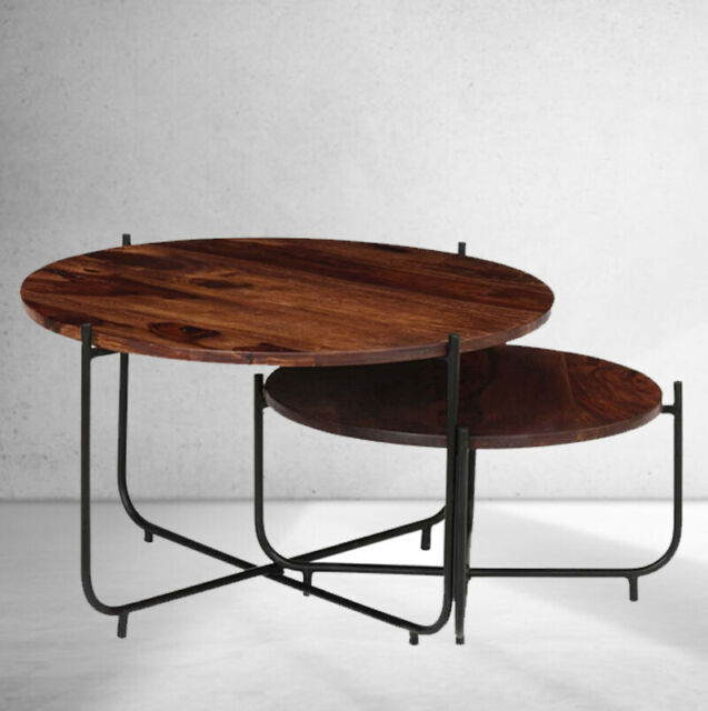 Round Industrial Coffee Table Set Of 2 Wood Rustic Side End