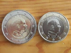 Pieces-Coins-2-euro-1-euro-Albert-II-de-Monaco-2019-UNC
