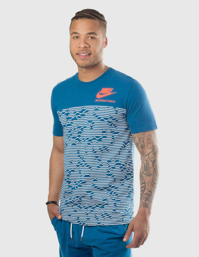 NWT  Nike Leisure T-shirt International Tee 3 2017 Navy Men Cotton L 847447-457