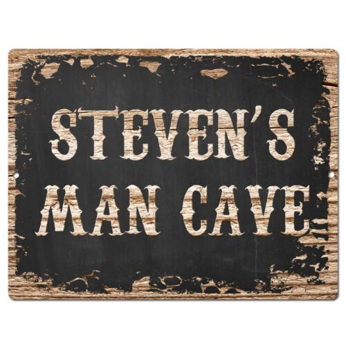 PP1622 STEVEN/'S MAN CAVE Plate Chic Sign Home Room Garage Decor Birthday Gift