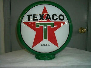 gas-pump-globe-TEXACO-reproduction-2-GLASS-LENS-in-a-plastic-body-NEW
