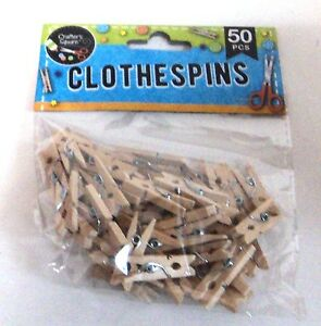 50-Miniature-Craft-Wooden-Clothespins-New-in-Package