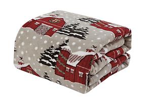 Ultra-Soft-amp-Cozy-Oversized-Christmas-Gray-Snowy-Barn-Plush-Throw-Blanket-Cover
