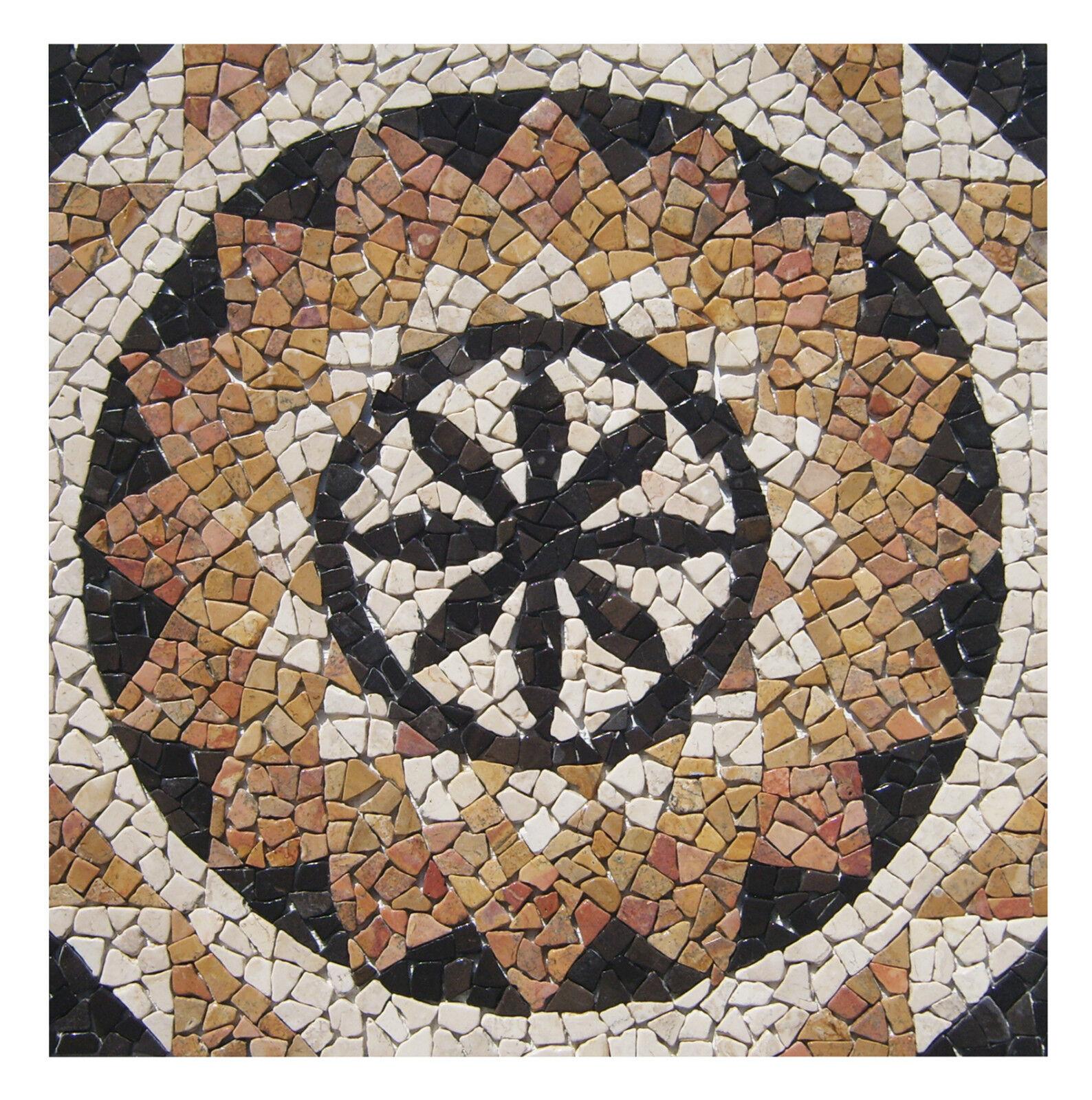 1 Marmor Einleger RO-004 - 90x90x1 cm - Mosaik Rosone - Fliesen Lager Herne NRW