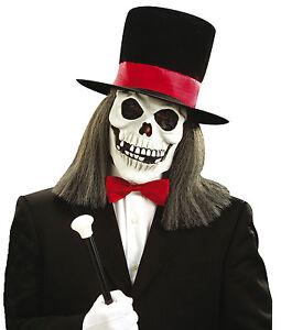 La imagen se está cargando Zombie-Mascara-Calavera-amp-Sombrero-De-Copa -Hombres- 87ba3806ade