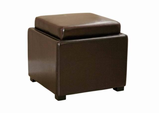 Swell Brown Leather Storage Cube Square Ottoman Foot Stool Serving Tv Tray Modern Creativecarmelina Interior Chair Design Creativecarmelinacom