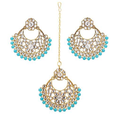 Jwellmart Indien Traditionnel Plaqué Or Zircon Cubique Turquoise Boucles d/'oreilles Tika Bijoux Set